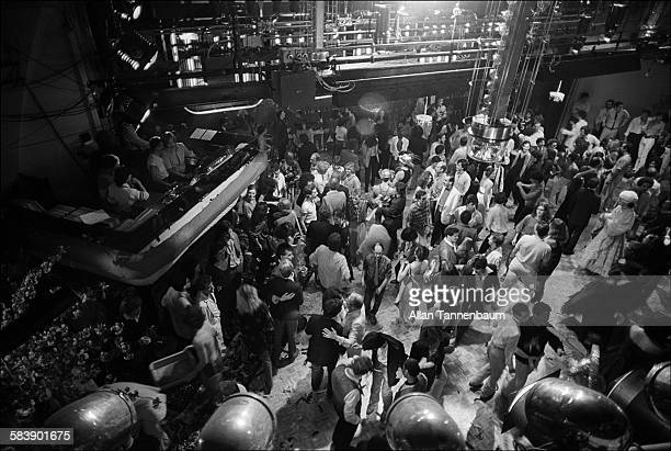 The view from the balcony of the dancefloor DJ booth and a new bridge are seen at Studio 54 during its second anniversary party New York New York...
