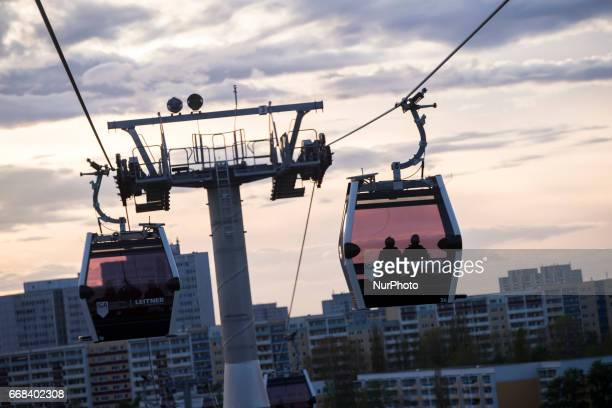 The view from the cable car is pictured at sundwon at the end of the opening day of the IGA 2017 in Berlin Germany on April 13 2017 The exhibition...