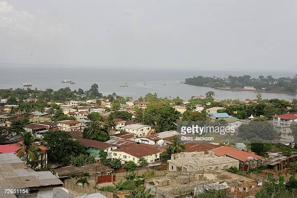 The view from the hill over Freetown on November 26 2006 in Freetown Sierra Leone Sierra Leone was ravaged by a decade long civil war but peace was...