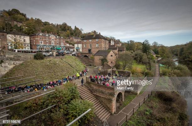 The view from the Iron Bridge is pictured as conservationists begin repair work on the world's first iron bridge erected over the River Severn in...