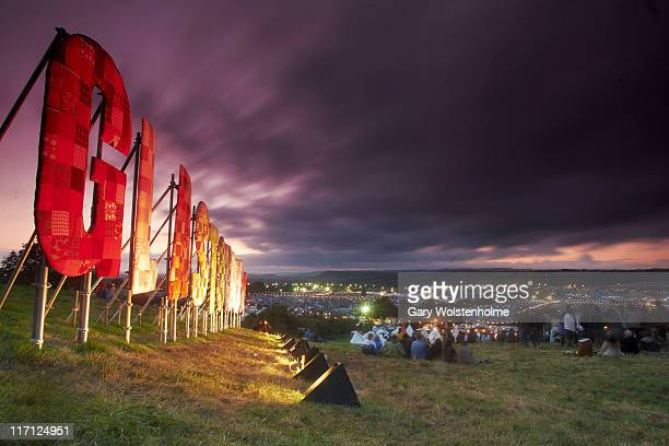 The view from the lounging area above the Park Stage at sunset during the first day of Glastonbury Festival 2011 at Worthy Farm on June 22 2011 in...