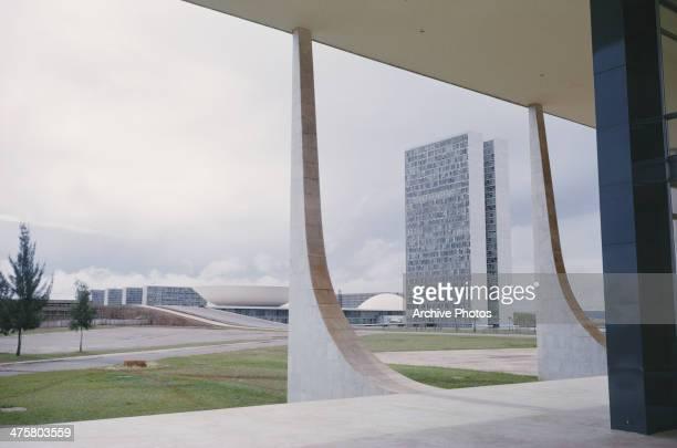 The view from the Palacio do Planalto or presidential palace on the Praca dos Tres Poderes toward the Palacio do Congresso Nacional or Palacio Nereu...