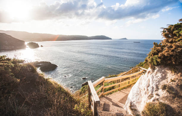 The view from the Pedestrian Walkway at Punto Socastro, Galicia, Spain.