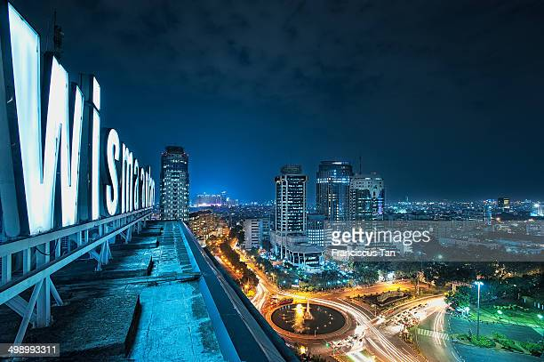 CONTENT] The view from the rooftop Wisma Antara overlooking the West of Jakarta Shot during the night