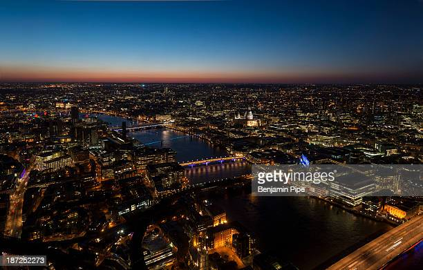 CONTENT] The View from The Shard over River Thames and Central London at night London England