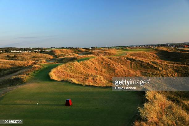 The view from the tee on the 236 yards par 3 16th hole 'Calamity' on the Dunluce Links at Royal Portrush Golf Club the venue for The Open...