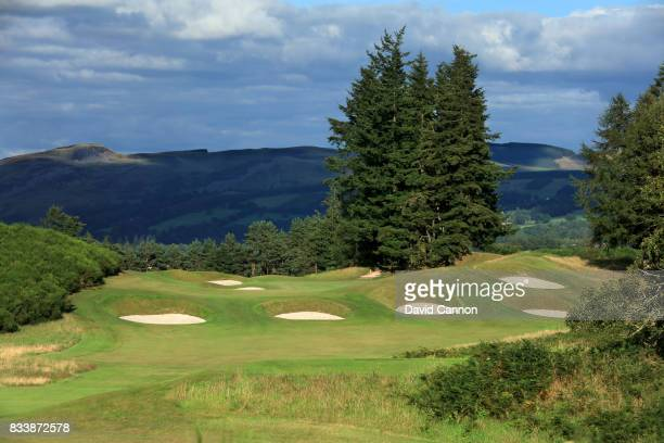 The view from the tee on the 309 yards par 4, 14th hole on the King's Course at The Gleneagles Hotel on August 9, 2017 in Auchterarder, Scotland.
