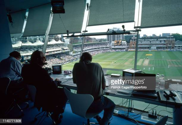 The view from the Test Match Special commentary box during the 2nd Test match between England and New Zealand at Lord's Cricket Ground London 24th...