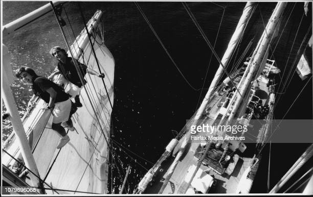 The view from the top is great mate on the young EndeavourAngela Macdonald 19 and Carl Dembeck 23 both of Newcastle trimming the topsail on the...