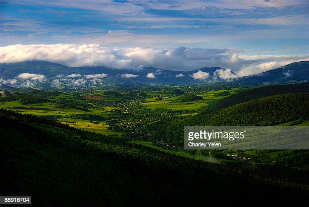 the view from the top maly klin / jeseniky mount. - charley green stock pictures, royalty-free photos & images