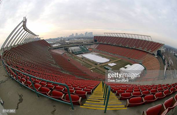 The view from the top of Commonwealth Stadium on November 17 2003 in Edmonton Canada Preparations are being made to the stadium for the upcoming...