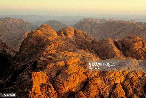 The view from the top of Mount Sinai where Moses received the Ten Commandments in the Sinai Peninsula of Egypt at sunrise