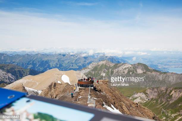 The view from the top of Schilthorn across the Alps