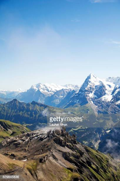 The view from the top of Schilthorn towards the Eiger