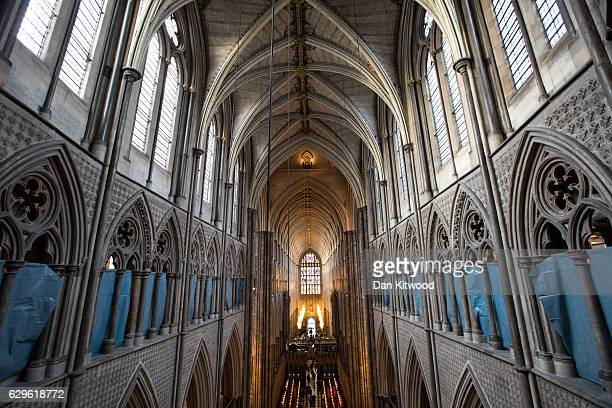 The view from the Triforium towards the Great West Door at Westminster Abbey on December 9 2016 in London England Restoration work is continuing to...