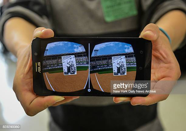The view from the virtual reality from the Google Glasses that shows the spot where Jackie Robinson played baseball and some old historic pictures...