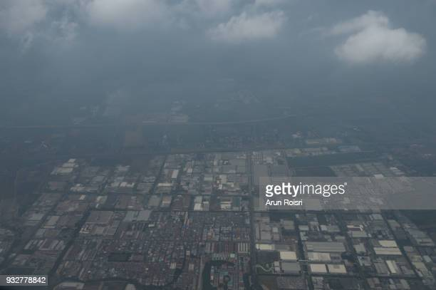 The view from the window of the plane to the city of Bangkok, Thailand.