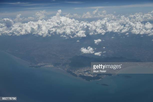 The view from the window of the plane to the seacoast of Thailand. Bangsaen - Patthaya, Chonburi, Thailand
