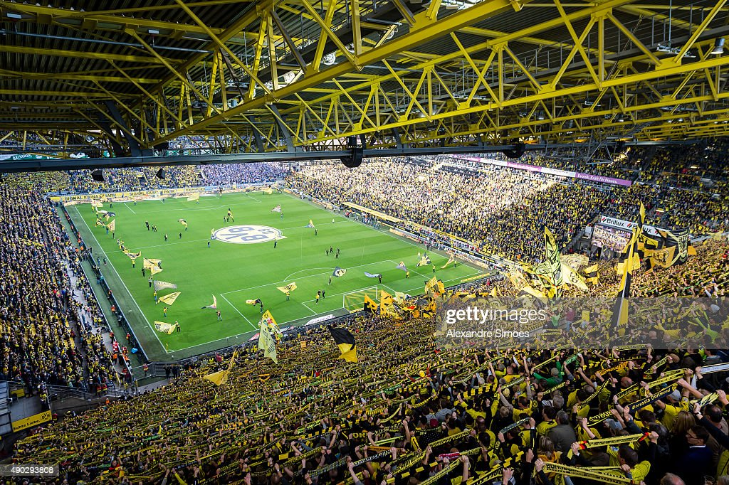 The view from up above the stadium prior to the Bundesliga match between Borussia Dortmund and SV Darmstadt 98 at Signal Iduna Park on September 27, 2015 in Dortmund, Germany.