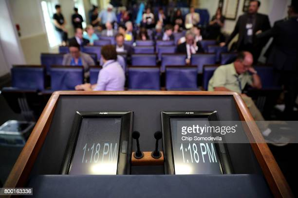 The view from White House Press Secretary Sean Spicer's lectern in the James Brady Press Briefing Room at the White House June 23 2017 in Washington...