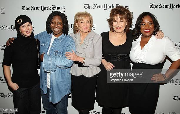The View hosts Elizabeth Hasselbeck Whoopi Goldberg Barbara Walters Joy Behar and Sherri Shepherd attend the New York Times Art and Leisure Weekend...