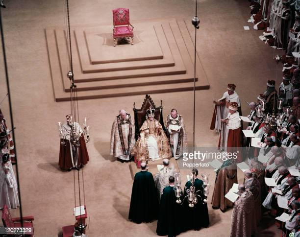 The view inside Westminster Abbey during the Coronation of Queen Elizabeth II in London on 2nd June 1953