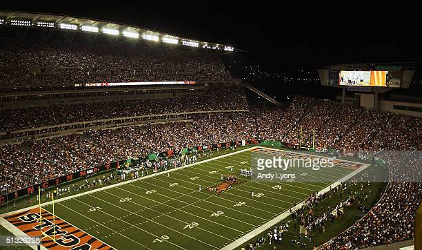 The view is seen from high up in the stands of the NFL game between the Cincinnati Bengals and the Miami Dolphin at Paul Brown Stadium on September...