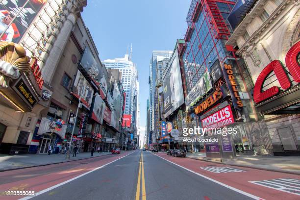 The view looking east along an empty 42nd street in Times Square amid the coronavirus pandemic on May 7 2020 in New York City COVID19 has spread to...