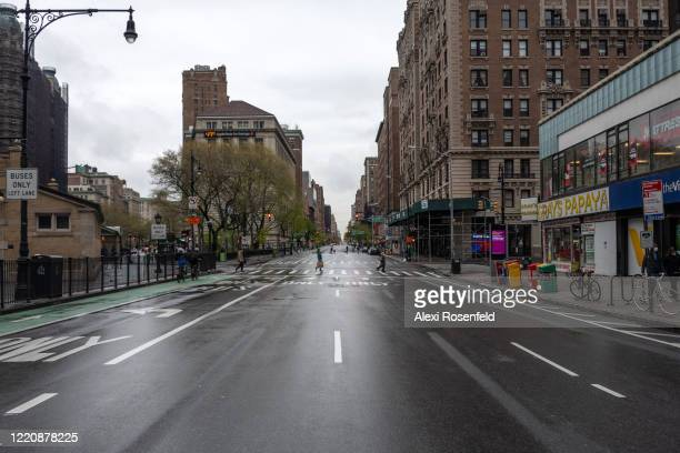 The view looking north along an empty Amsterdam Avenue amid the coronavirus pandemic on April 24 2020 in New York City United States COVID19 has...