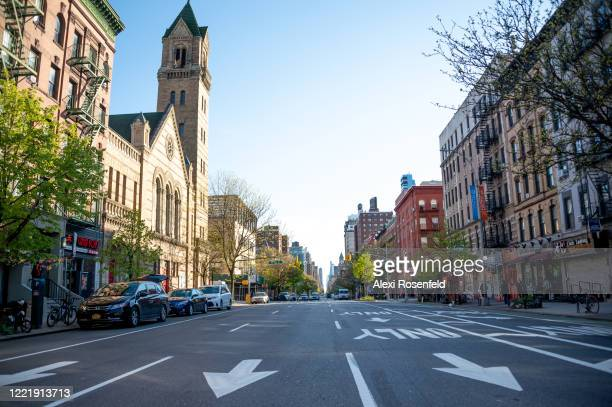 The view looking south down an empty street amid the COVID19 pandemic on April 28 2020 in New York City United States COVID19 has spread to most...