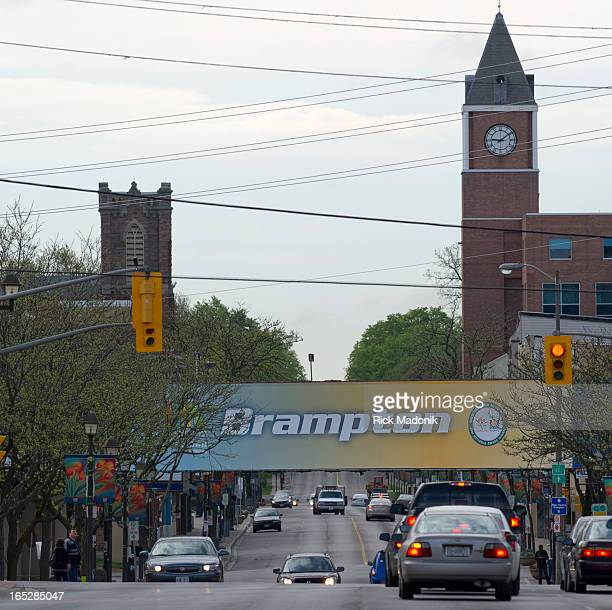 05/20/11 BRAMPTON ONTARIO The view looking southbound along Main Street toward Queen Street The stoplights are at Church Street The actual...