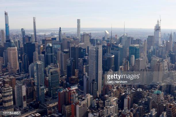 The view northeast to Central Park Tower and the Steinway Tower on Billionaire's Row One Vanderbilt and the Chryler Tower on the opening day of the...