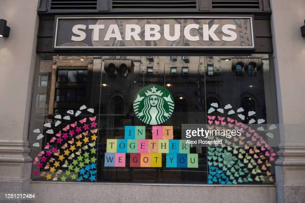 The view of a Starbucks coffee shop displaying pride colors on June 21, 2020 in New York City. Due to the ongoing Coronavirus pandemic, this year's...
