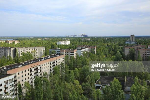 the view of abandoned pripyat city from the roof of tallest building - ciudad de pripyat fotografías e imágenes de stock