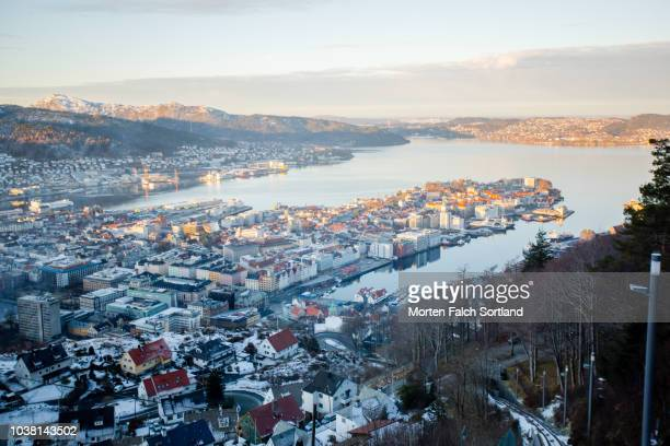 The View of Bergen City from Mount Fløyen, Norway Wintertime