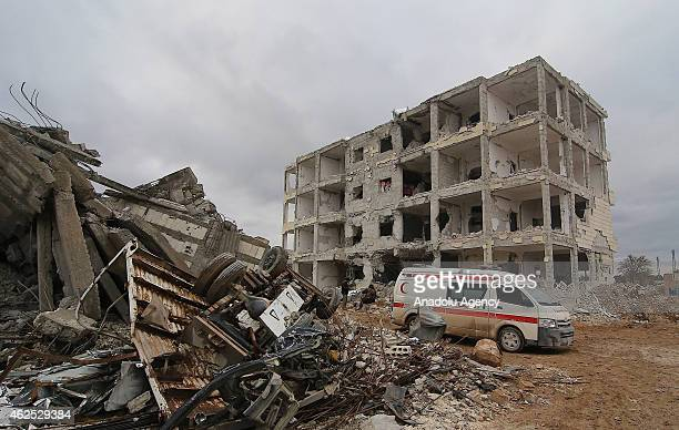The view of damaged houses during the clashes between the Islamic State of Iraq and Levant and Kurdish armed troops in Kobane city of Syria, on...