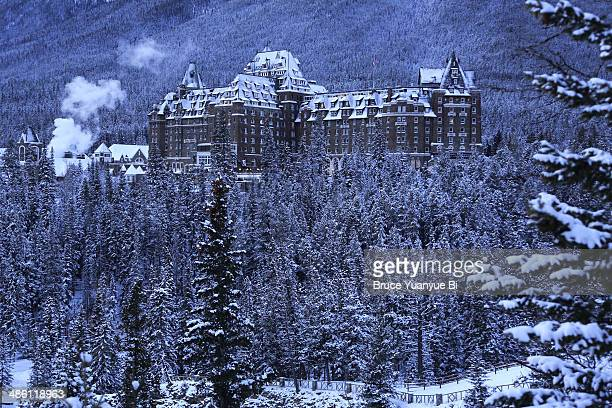 The view of Fairmont Banff Spring Hotel in winter