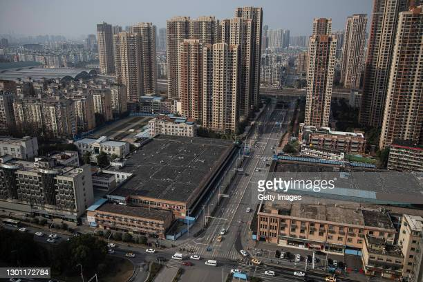 The view of Huanan seafood market on February 9, 2021 in Wuhan, Hubei Province, China. The World Health Organization team tasked with investigating...