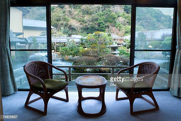 The view of Japanese garden from a room of a Japanese inn, Japan