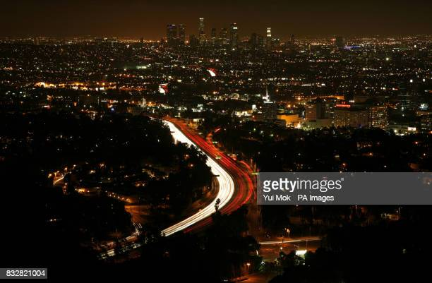 The view of Los Angeles at night from Mulholland Drive in Hollywood Los Angeles USA