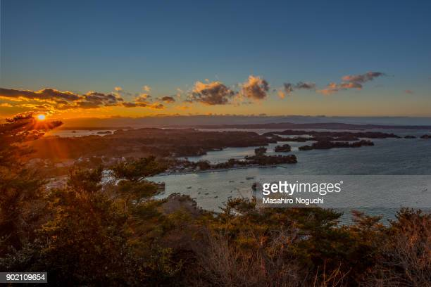 The view of Matsushima Bay, Miyagi, Japan, from Otakamori, at winter sunset