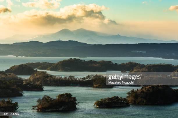 The view of Matsushima Bay, Miyagi, Japan, from Otakamori, in winter afternoon,