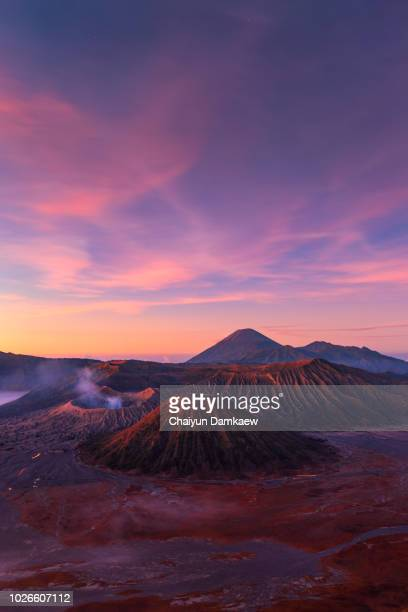 the view of mount bromo and mount batok at sunrise - mt semeru stock pictures, royalty-free photos & images