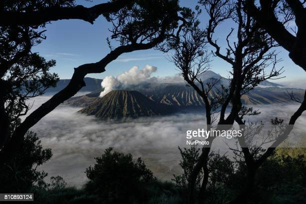 The view of Mount Bromo during the Yadnya Kasada Festival at Probolinggo East Java Indonesia on July 8 2017 Yadnya Kasada ceremony is the main...