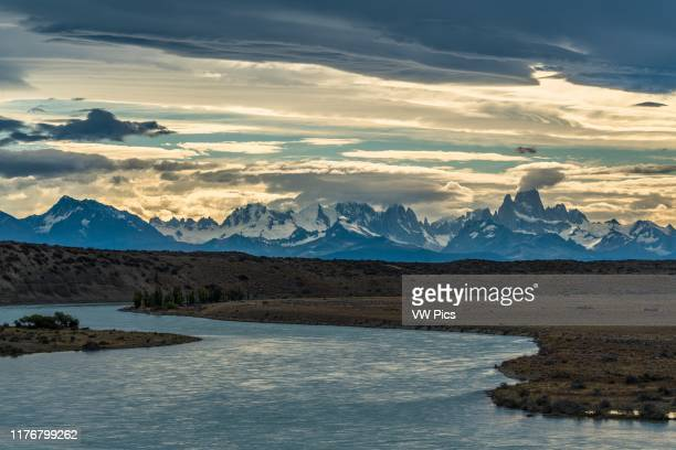 The view of Mount Fitz Roy and the Fitz Roy Massif over the Rio La Leona in Argentina From here the mountains are almost 60 or 100 kilometers miles...