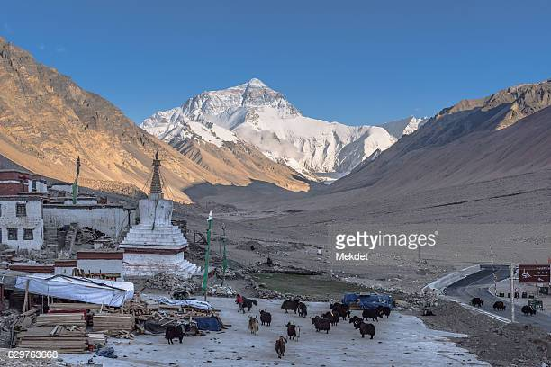 The view of Mt. Everest and Rongbuk Monastery, the highest monastery in the world.
