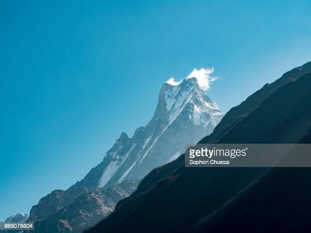 the view of mt.machapuchare (fishtail) - machapuchare stock photos and pictures