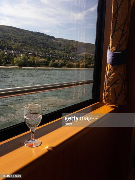 The view of Rüdesheim am Rhein from the window of a Rhine valley riverboat cruise