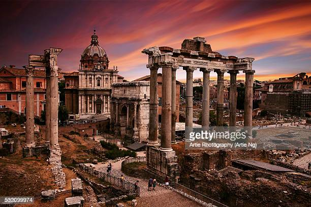 The View of Roman Forum From Portico Dii Consentes, Rome, Lazio, Italy