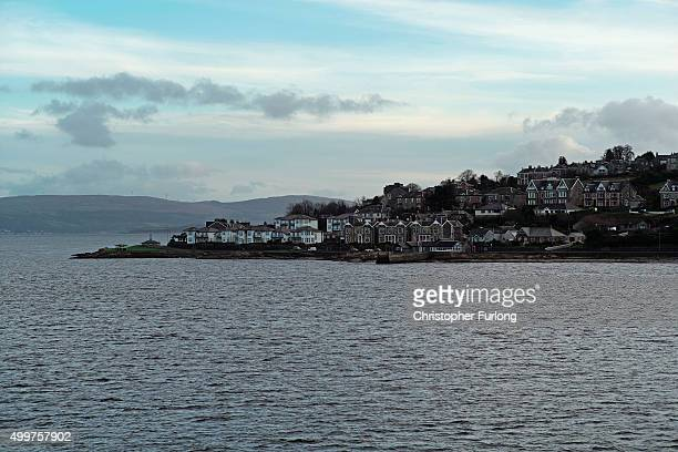 The view of Rothesay for passengers onboard the MV Bute ferry from the mainland on December 2 2015 in Rothesay Isle of Bute Scotland The Isle of Bute...